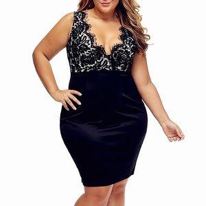 Dresses & Skirts - 💖Bombshell Plus Black Satin Lace Diva Dress,XL-4X
